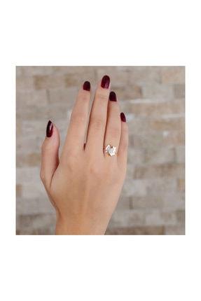 Tesbihane Zirkon Taşlı Çınar Yaprağı Tasarım Rose Renk 925 Ayar Gümüş Bayan Yüzük 0