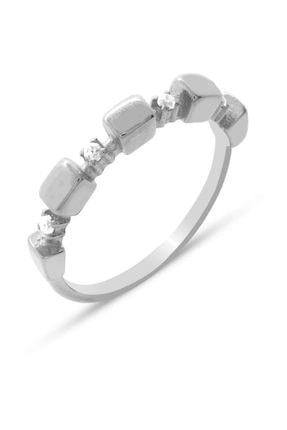 Tesbihane Zirkon Taşlı Sıralı Küp Tasarım 925 Ayar Gümüş Bayan Yüzük 0