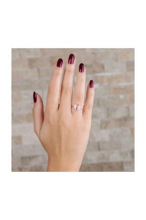 Tesbihane Zirkon Taşlı Kalbimin Kilidi Tasarım Rose Renk 925 Ayar Gümüş Bayan Yüzük 1