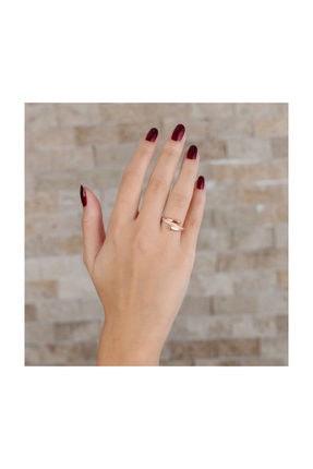 Tesbihane Zirkon Taşlı Helezon Tasarım Rose Renk 925 Ayar Gümüş Bayan Yüzük 1