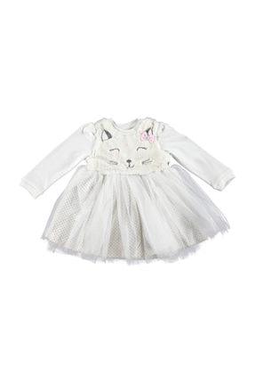 Picture of Bebek Kedili Kız Kulaklı Tüy Detaylı İnterlok Elbise