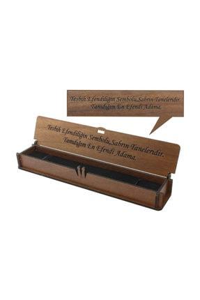 Tesbihane Özel Mesaj Yazılı Kahverengi Ahşap Hediye Tesbih Kutusu (m-5) 3