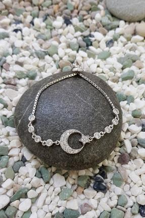 Chavin Taşlı Ay Yıldız Asansörlü Gümüş Bileklik ee48by 1