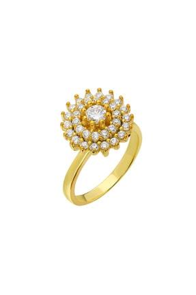 Tesbihane Üç Sıra Zirkon Taşlı Halka Tasarım Gold Renk 925 Ayar Gümüş Kadın Yüzük 102001604 2