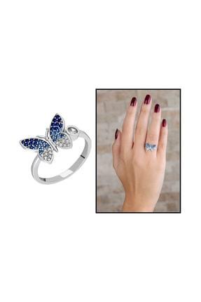 Tesbihane Mavi-Beyaz Zirkon Taşlı Kelebek Tasarım Üretildiği Malzeme : 925 Ayar Gümüş Kadın Yüzük 102001623 0