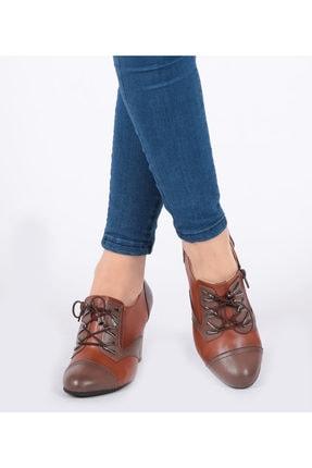 Pretty Fermuar Ve Bağcıklı Taba Renk Kadın Ayakkabı 0