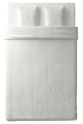 IKEA Nattjasmın Çift Kişilik Nevresim Takımı Saten Dokuma Pamuklu Beyaz Çizgili + 2 Adet Yastık Kılıfı 1