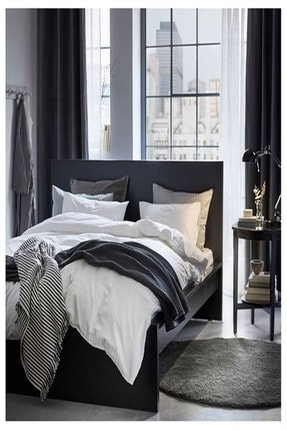 IKEA Nattjasmın Çift Kişilik Nevresim Takımı Saten Dokuma Pamuklu Beyaz Çizgili + 2 Adet Yastık Kılıfı 2