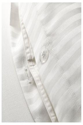 IKEA Nattjasmın Çift Kişilik Nevresim Takımı Saten Dokuma Pamuklu Beyaz Çizgili + 2 Adet Yastık Kılıfı 4