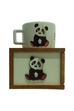 Mars Flow Panda Tasarımlı Ahşap Kutulu Kupa Bardak panda 5877