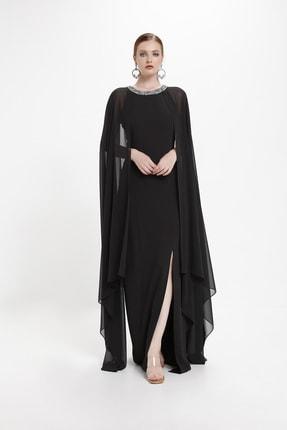 Pelerin Detaylı Abiye Elbise 5222
