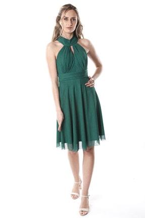 Kadın Zümrüt Yeşili Boyundan Bağlamalı Tül Abiye Elbise 1ABTB4112OY