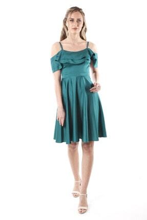 Kadın Petrol Saten Abiye Elbise 1ABTB4151OY