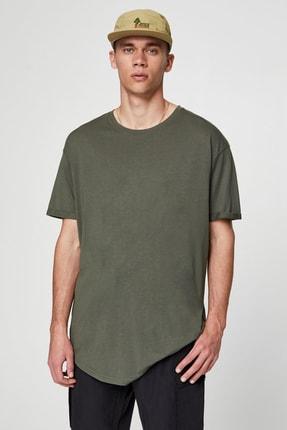 Pull & Bear Erkek Haki Uzun Basic T-Shirt 05234513 0
