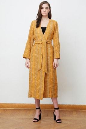 تصویر از Kadın Safran Aısha Kol Detaylı Kemerli Palto 9004