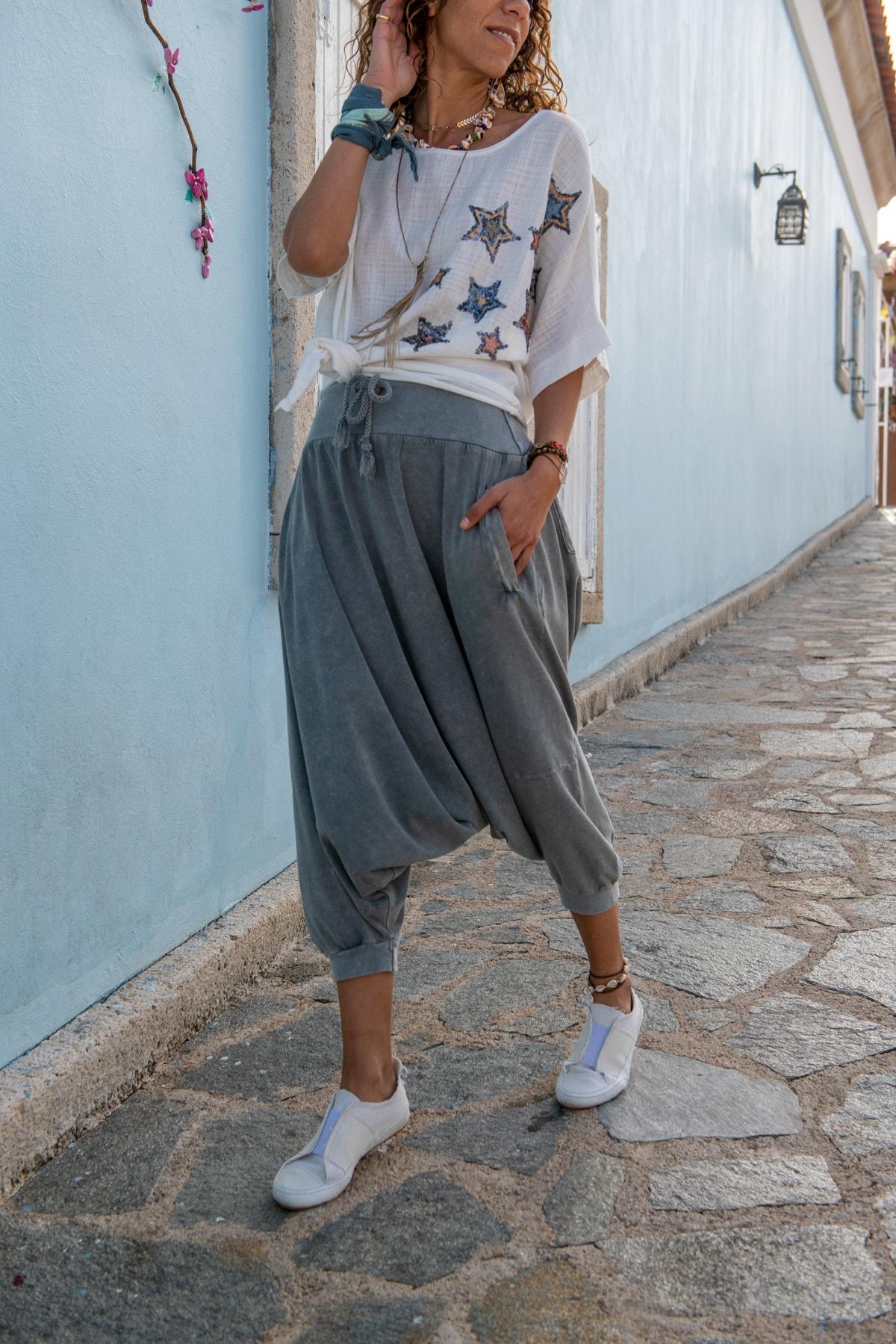 Güneşkızı Kadın Gri Yüksek Bel Cepli Beli Lastikli Şalvar Pantolon GK-RSD2004 1