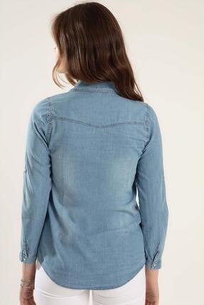 Pattaya Kadın Basic Kot Gömlek Y20s110-3411 2