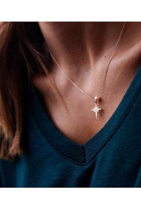 Reis Kuyumculuk Kadın Kutup Yıldızı İnci Taşlı Pembe Altın Kolye T517. 0