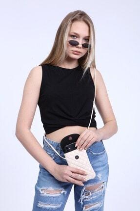 meyoubags Kadın Bej Kapitone Kumaş Askılı Cep Telefon ve Kartlık Omuz Çantası 3