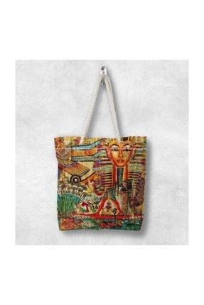 Else Halı Else Retro Mısırlı 3d Desenli Fermuarlı Kumaş Omuz Çantası 0