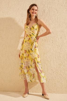 TRENDYOLMİLLA Sarı Çiçek Desenli Elbise TWOSS19EL0107 0