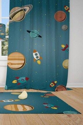 CİCİ TASARIM ÜRÜNLERİ 1 Kanat Güneş Sistemi,uzay Aracı,yıldızlar Çocuk Bebek Odası Perdesi Fon Perde 0