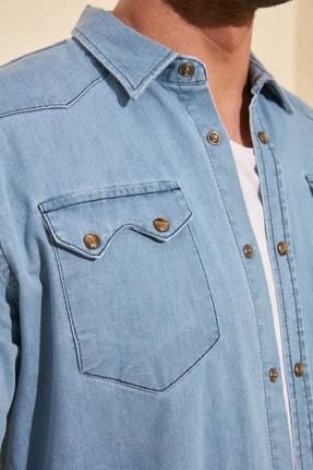 TRENDYOL MAN Mavi Erkek Likralı Kalın Cep Şeritli Regular Fit Denim Gömlek TMNSS20GO0106 3
