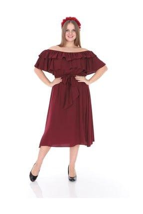 Kadın Büyük Beden Roba Fırfır Katlı Elbise Bordo resmi
