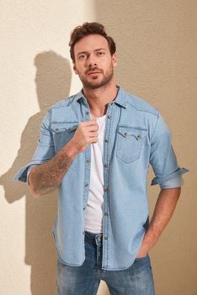 TRENDYOL MAN Mavi Erkek Likralı Kalın Cep Şeritli Regular Fit Denim Gömlek TMNSS20GO0106 1