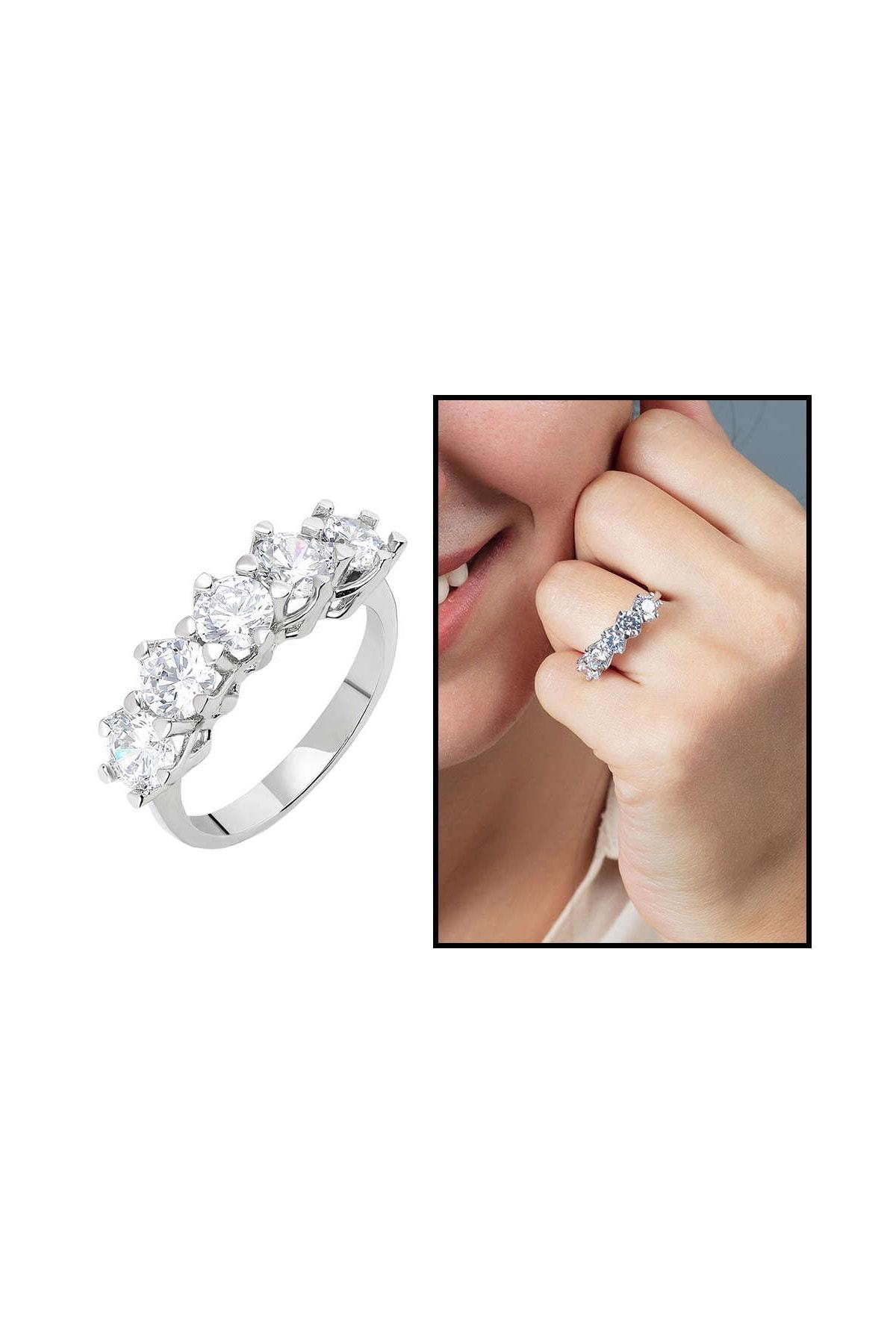 Tesbihane Starlight Diamond Pırlanta Montür 925 Ayar Gümüş Bayan Beştaş Yüzük 102001816 1