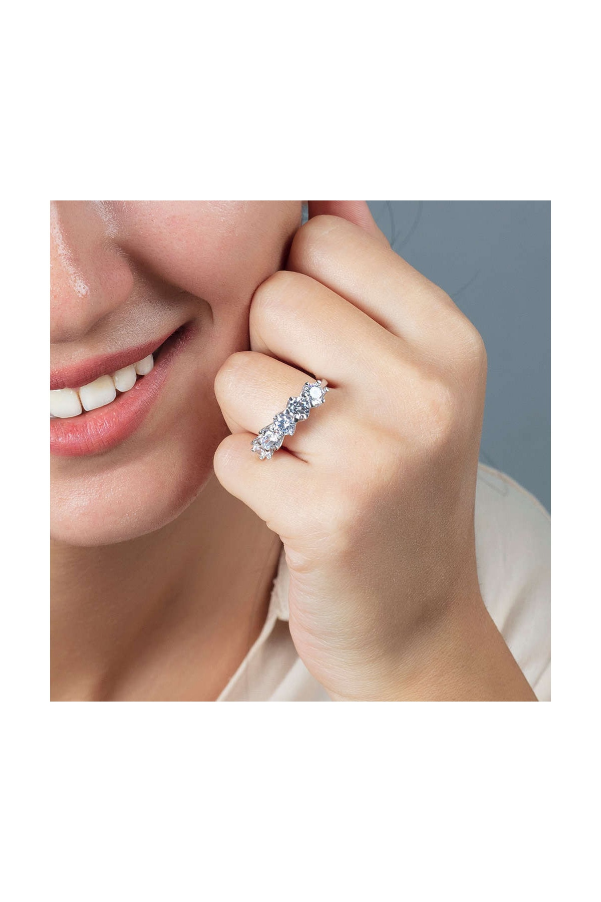 Tesbihane Starlight Diamond Pırlanta Montür 925 Ayar Gümüş Bayan Beştaş Yüzük 102001816 2