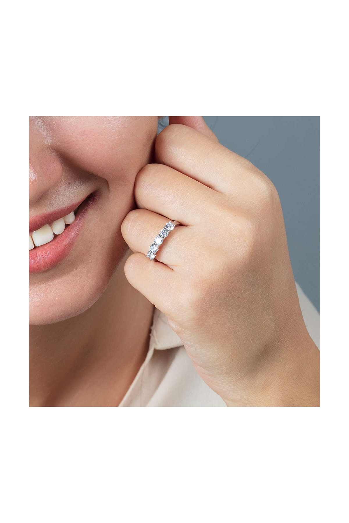 Tesbihane Starlight Diamond Pırlanta Montür Mini Tasarım 925 Ayar Gümüş Bayan Beştaş Yüzük 102001809 2