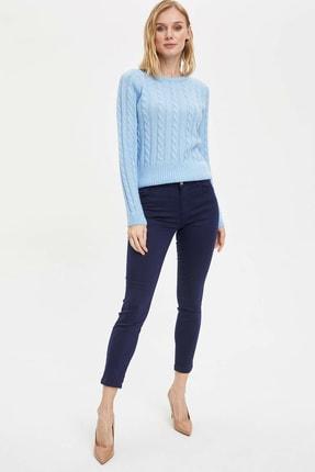 Defacto Kadın Lacivert Slim Fit Dokuma Pantolon M0649AZ.20SP.NV31 1