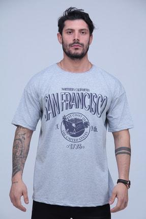 Black Sokak Erkek Gri San Francisco Baskılı Oversize Tshirt 0