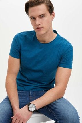 Defacto Erkek Yeşil Basic Slim Fit T-Shirt 0