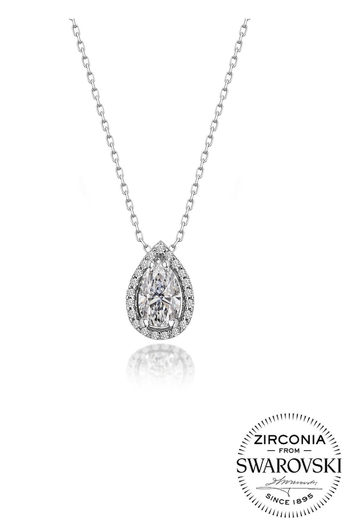 Söğütlü Silver Gümüş Swarovski Taşlı Pırlanta Modeli Damla Kolye Sgtl20517Kolye 0