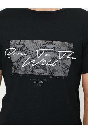 Koton Erkek Siyah Baskili T-Shirt 0YAM11908LK 1