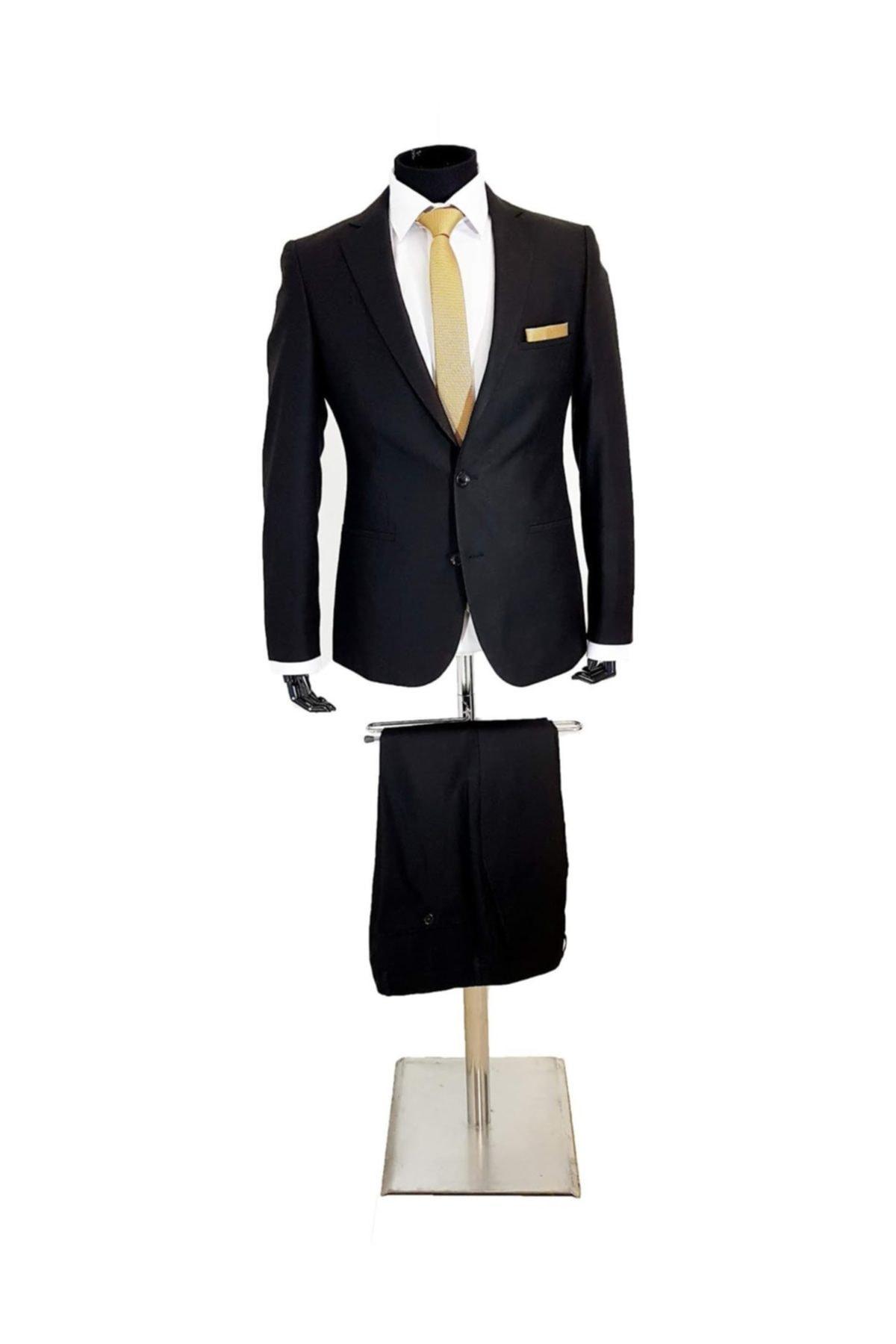 Erkek Takım Elbise Siyah Slim Fit 41012