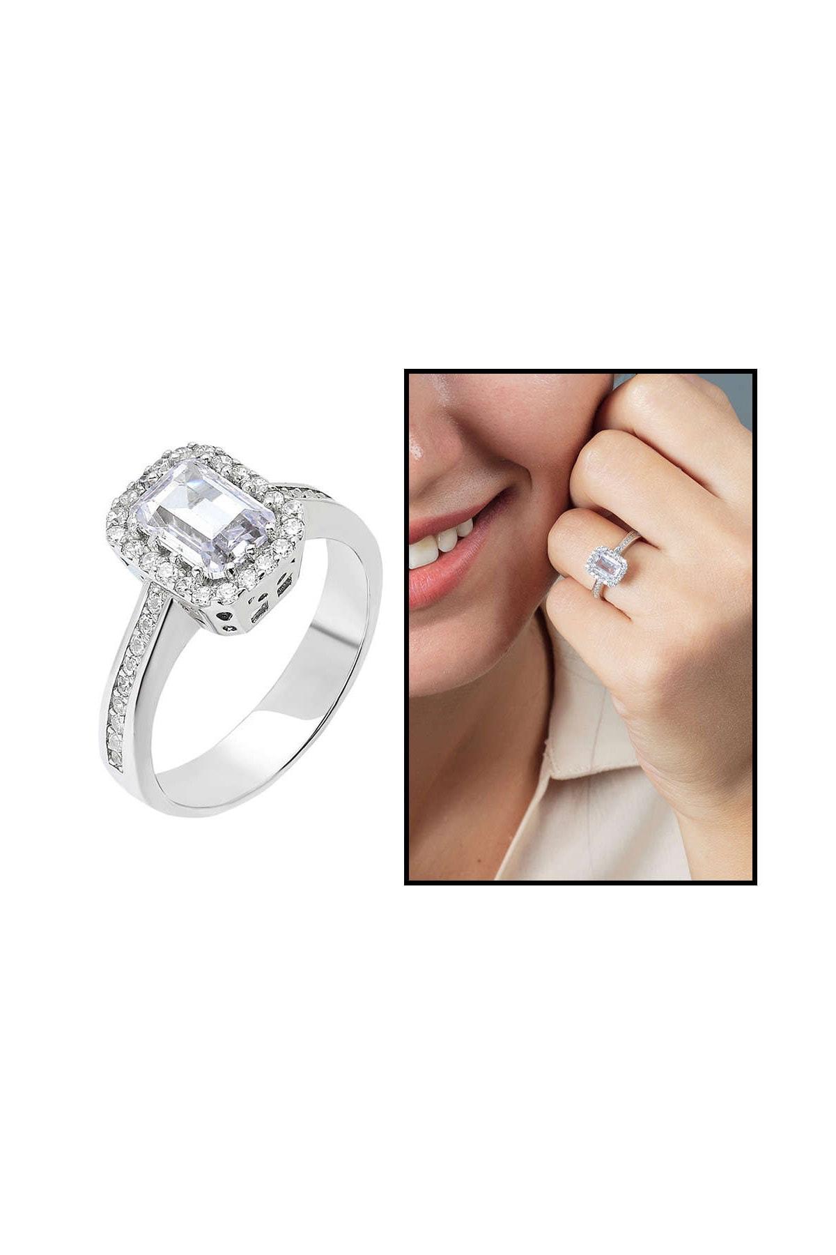 Tesbihane Starlight Diamond Pırlanta Montür Zarif Tasarım 925 Ayar Gümüş Bayan Baget Yüzük 102001798 1