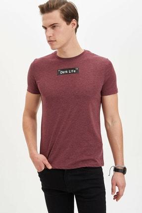 Defacto Erkek Bordo Baskılı Slim Fit T-Shirt M4080AZ.20SP.BR34 0