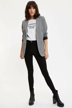 Defacto Kadın Siyah Ekose Blazer Ceket M8794AZ.20SP.BK27 1