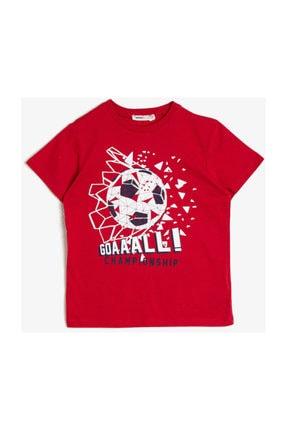 Koton Erkek Kırmızı Yazili Baskili T-shirt 0YKB16255OK 0
