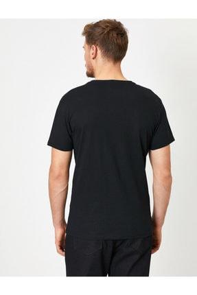 Koton Erkek Siyah Baskili T-Shirt 0YAM11908LK 3