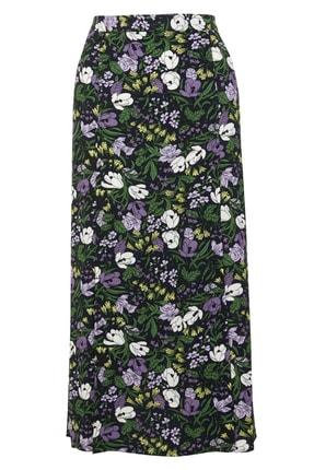 Marks & Spencer Kadın Multi Renk Çiçek Desenli Midi Etek T59007645 1