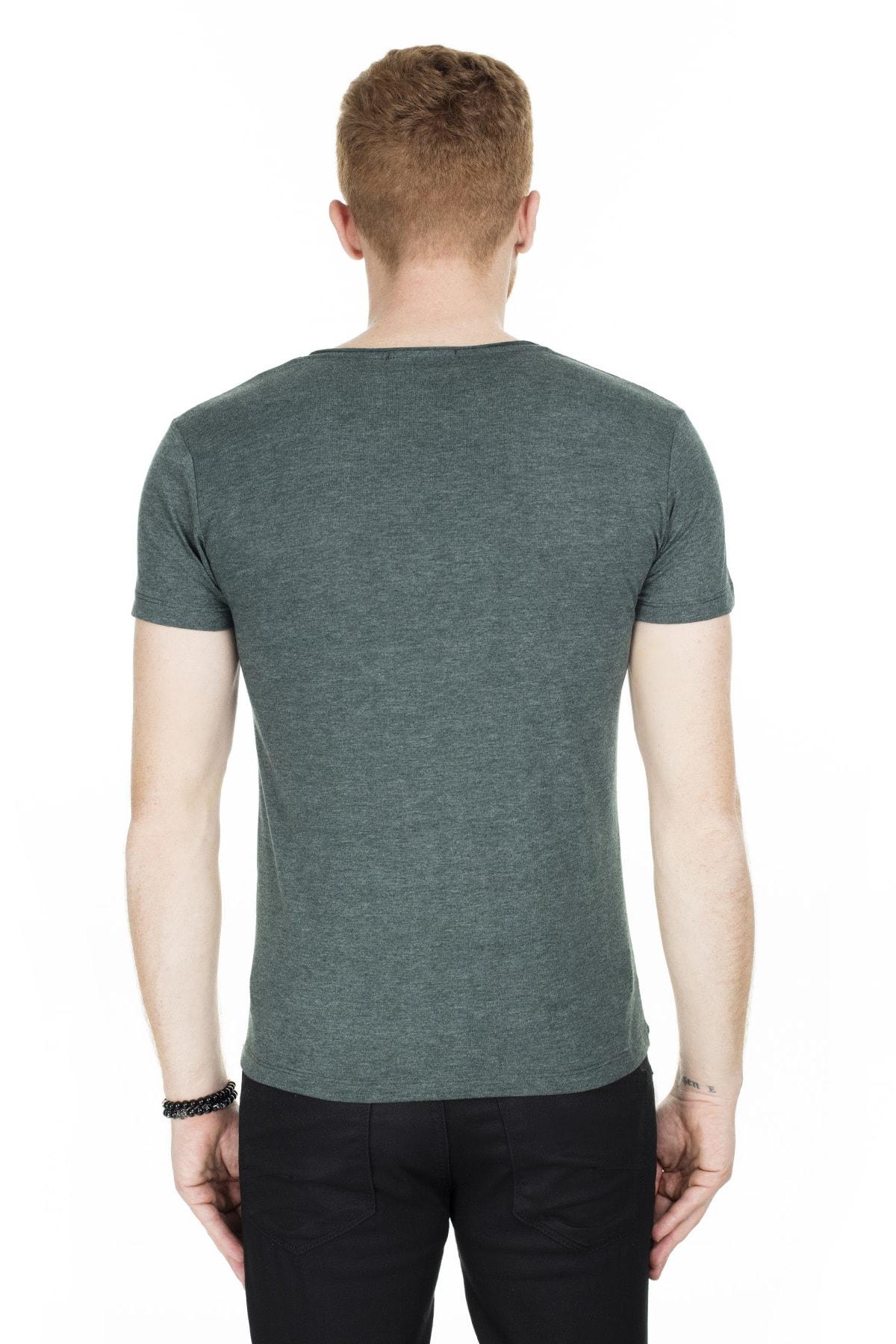 Buratti Erkek Yeşil V Yaka Pamuklu Basic T Shirt 54153 1