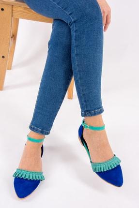 Fox Shoes Saks Mavi/Su Yeşili Kadın Babet H726685002 1