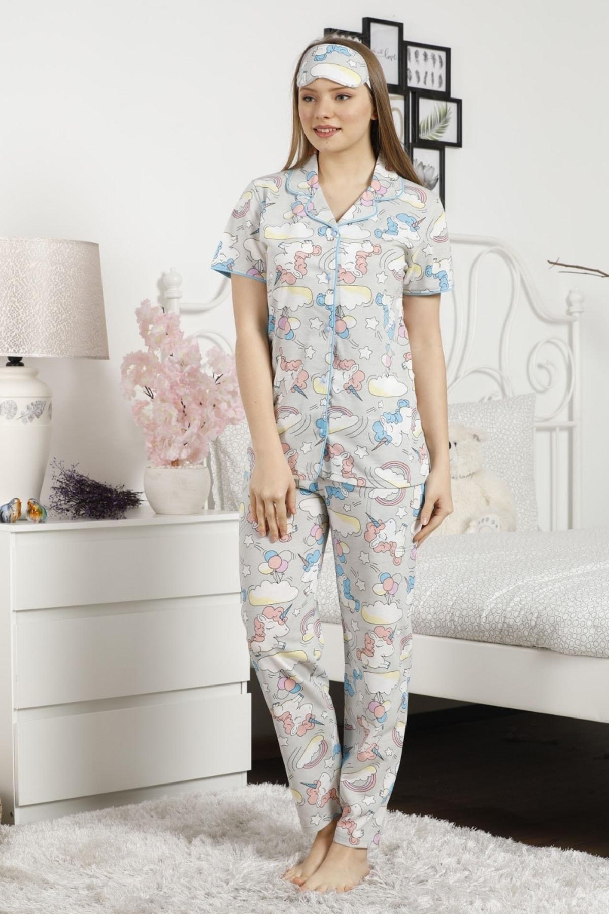 Pijamaevi Mavi Unicorn Desenli Önden Düğmeli Kısa Kollu Pijama Takımı