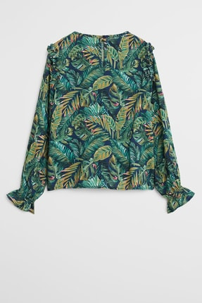 Mango Tropikal desenli bluz 2