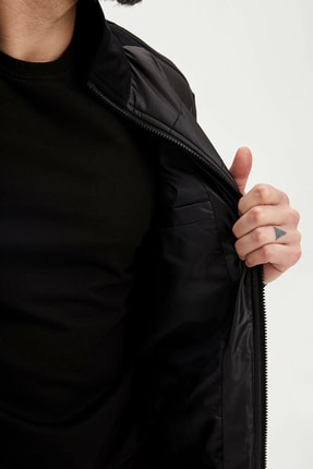 Defacto Erkek Siyah Slim Fit Fermuarlı Hırka N5381AZ.20SP.BK27 3