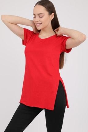 MD trend Kadın Kırmızı V Yaka Yırtmaçlı Kısa Kol Pamuklu T-Shirt Mdt3025 4